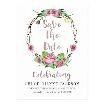 Graduation Save The Date Watercolor Roses Wreath Cards