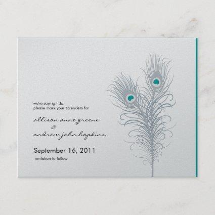 Grand Peacock Metallic Silver/Teal Save the Date