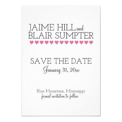 Graphic Interplay Typography Heart Save the Date Invitation