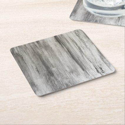 Gray Abstract Wooden Effect design Square Paper Coaster