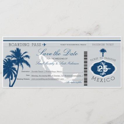 Gray and Blue Mexico Boarding Pass Save the Date