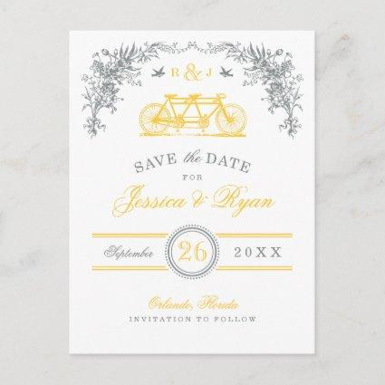 Gray and Yellow Vintage Bicycle Save the Date Announcements