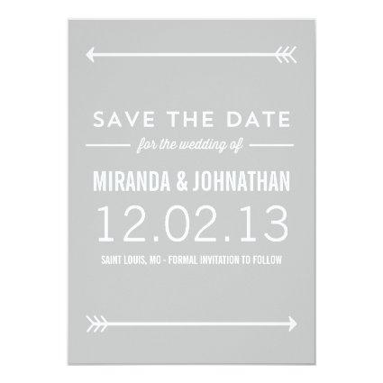 Gray Arrows Photo Save The Date Announcements