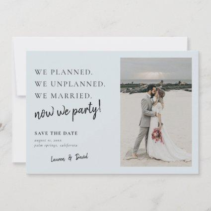 Gray Blue Post Wedding Update Save the Date
