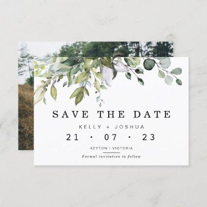 Gray Green Foliage Wedding Save The Date Card