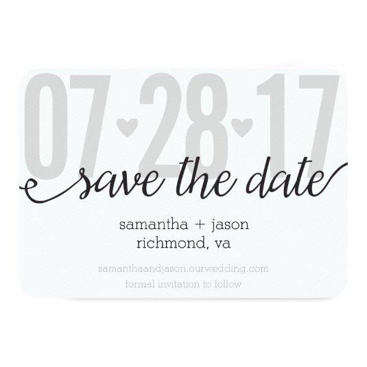 Gray Hearts and Chevron Big Numbers Save the Date 3.5x5 Paper Invitation Card