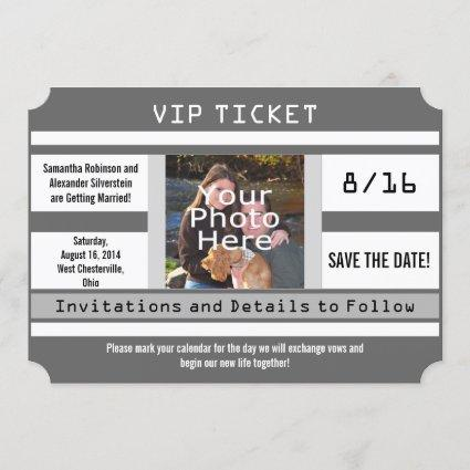 Gray Photo Ticket Save the Date Wedding Card