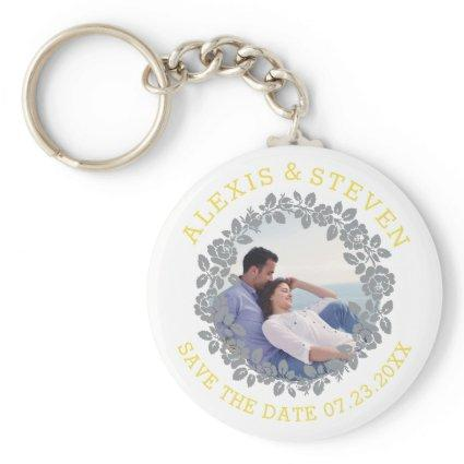 Gray rose wreath floral Save the Date photo Keychain
