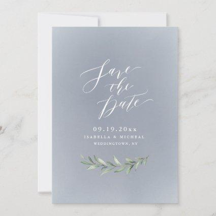 Gray simple calligraphy rustic greenery wedding save the date