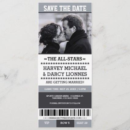 Gray Sports Ticket Save the Date