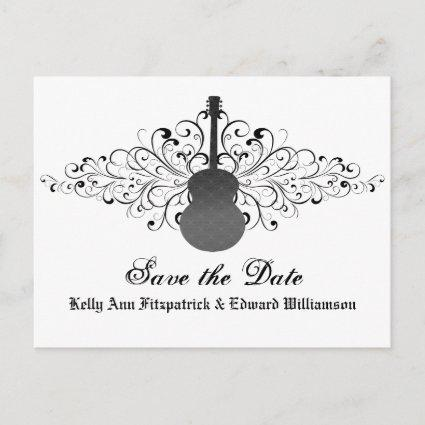 Gray Swirls Guitar Save the Date Cards