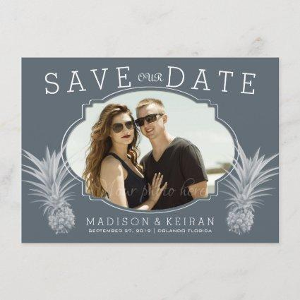 Gray Tropical Wedding Photo Save Our Date Save The Date