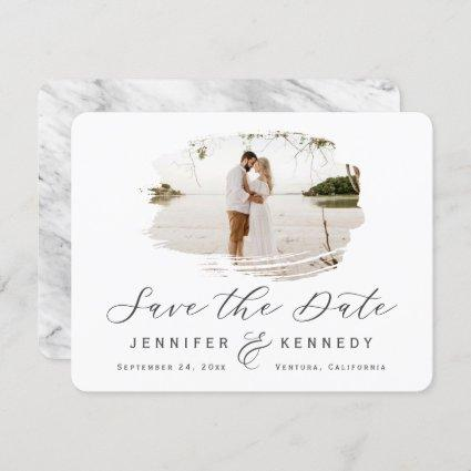 Gray & White Romantic Brushed Frame with Photo Save The Date