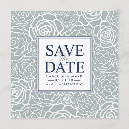 Grayed Jade Floral Save the Date