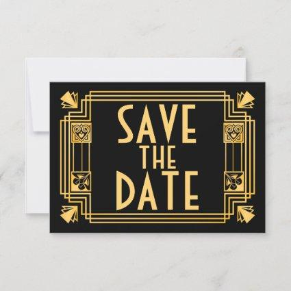 Great Gatsby 1920s Art Deco Wedding Save the Date