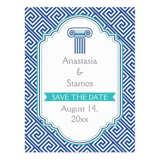 Greek Key And Blue Column Wedding Save The Date Cards