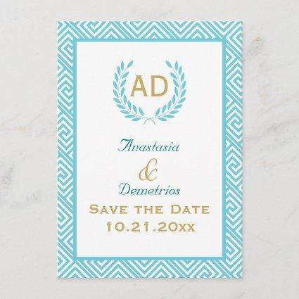 Greek key and laurel wreath teal request 3 save the date