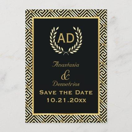 Greek key and laurel wreath wedding Save the Date