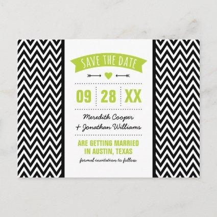 Green and Black Modern Chevron Save the Date Announcement