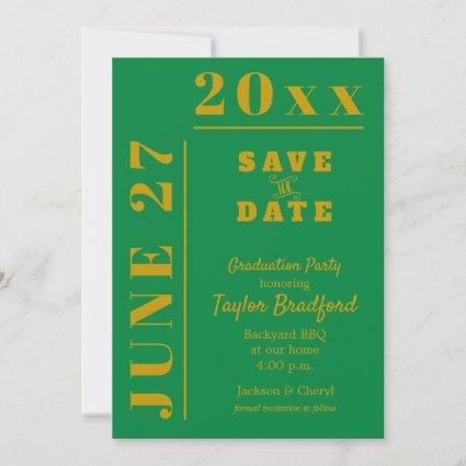 Green and Gold Graduation Party Save the Date