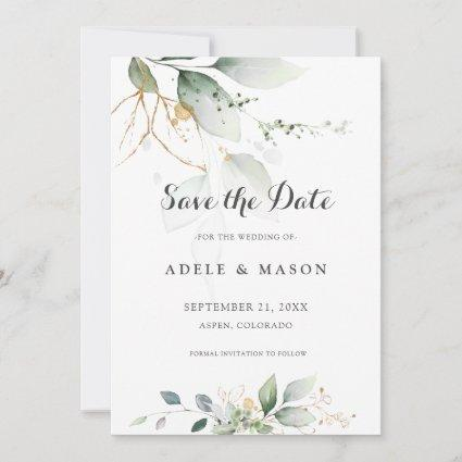 Green and Gold Save the Date Wedding Botantical