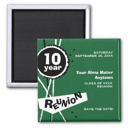 Green and White 10 Year Class Reunion Magnets