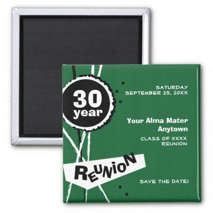 Green and White 30 Year Class Reunion Magnets
