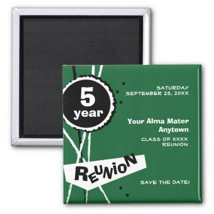 Green and White 5 Year Class Reunion Magnets