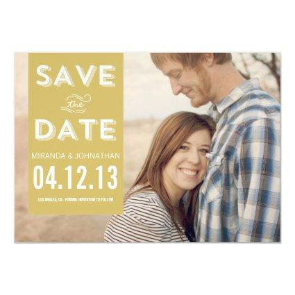 Green Banner Photo Save The Date Announcements