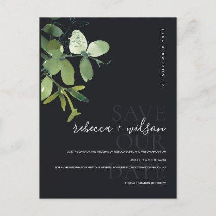 GREEN BLACK EUCALYPTUS WATERCOLOR SAVE THE DATE ANNOUNCEMENT