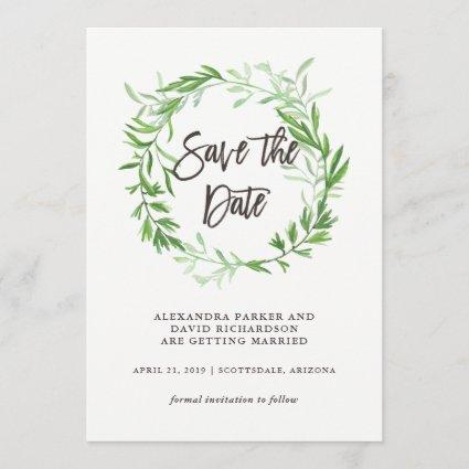 Green Botanical Leaves Wreath Save the Date