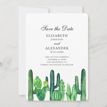 Green cactus save the date. Summer wedding cacti Save The Date