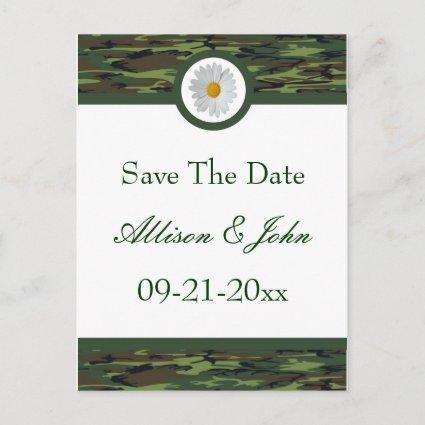 Green Camo Save The Date Cards