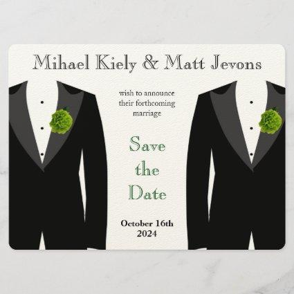 Green Carnation Save the Date Gay Wedding Card