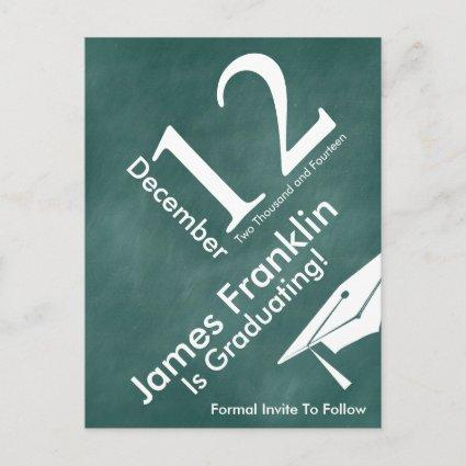 Green Chalkboard Trendy Save The Date Graduation Announcements Cards