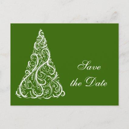 Green Christmas Tree Winter Wedding Save the Date Announcement