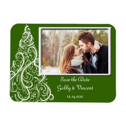 Green Christmas Winter Wedding Save the Date Magnets