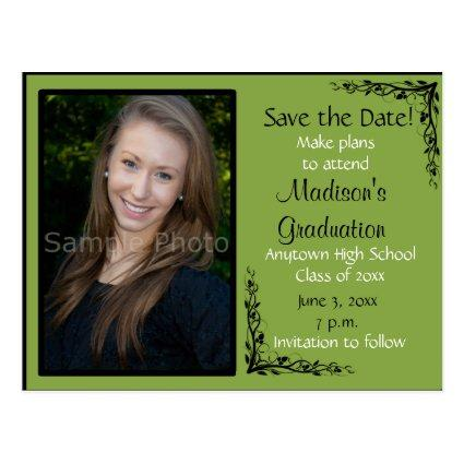 Green Custom Photo Graduation Save the Date Cards
