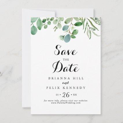 Green Eucalyptus Botanical Calligraphy Wedding Save The Date