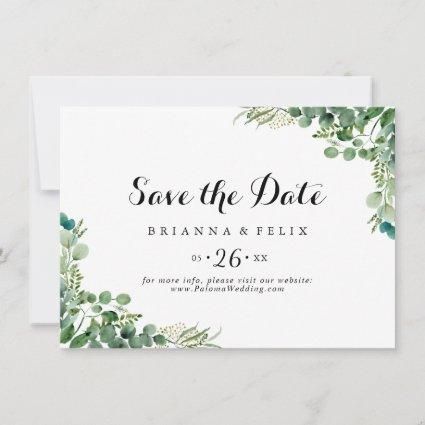 Green Eucalyptus Botanical Horizontal Wedding Save The Date