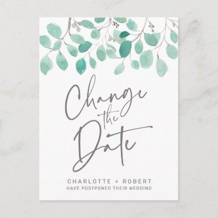 Green eucalyptus leaf wedding change the date announcement