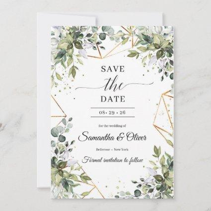 Green foliage eucalyptus leaves gold save the date
