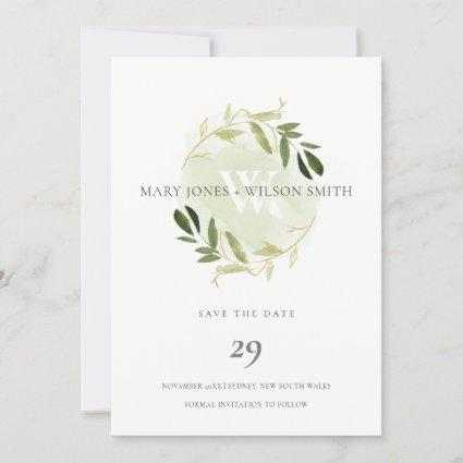 GREEN GOLD FOLIAGE WREATH SAVE THE DATE CARD