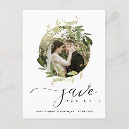 GREEN GOLD FOLIAGE WREATH SAVE THE DATE PHOTO ANNOUNCEMENT