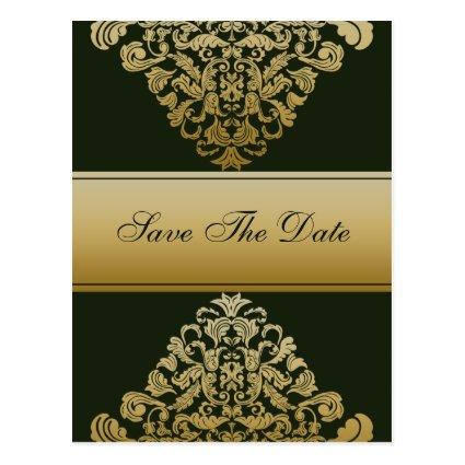 green gold save the date announcement