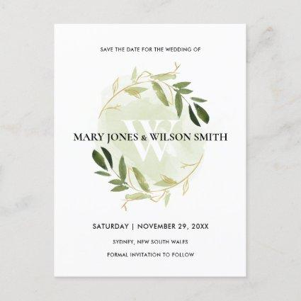 GREEN GOLD WATERCOLOR FOLIAGE WREATH SAVE THE DATE ANNOUNCEMENT
