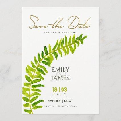 GREEN GOLD WATERCOLOUR FERN FOLIAGE SAVE THE DATE