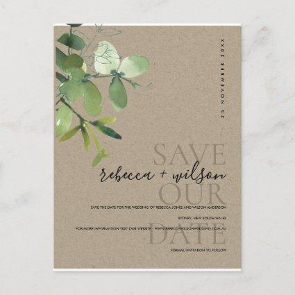 GREEN KRAFT EUCALYPTUS WATERCOLOR SAVE THE DATE ANNOUNCEMENT