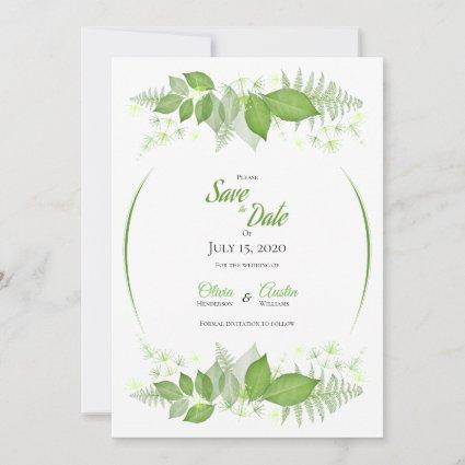 Green Leaves Foliage Floral Botanical Save The Date