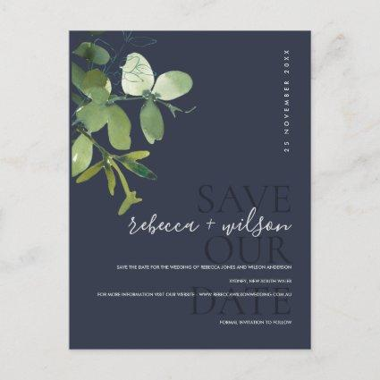 GREEN NAVY EUCALYPTUS WATERCOLOR SAVE THE DATE ANNOUNCEMENT